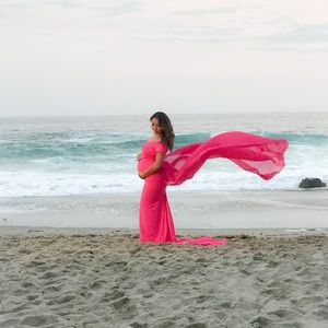 Dresses & Skirts - Pink sweetheart maternity gown dress